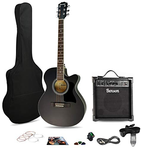 Columbus CW 40' satin BLACK electro electric cutaway Western acoustic...