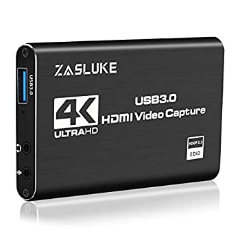 ZasLuke Game Capture Card USB 3.0 4K Audio Video Capture Card with HDMI Loop-Out 1080P 60FPS Live Streaming HDMI Capture for PS4 Nintendo Switch Xbox One&Xbox 360 and More