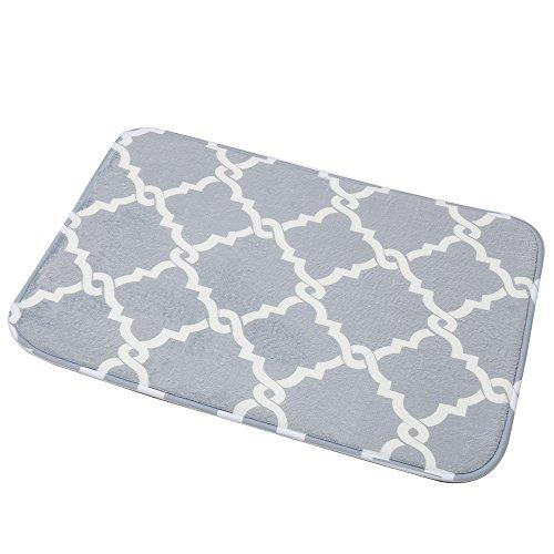U'Artlines Bath Mat, Comfort Extra Thick Memory Foam Bath Mat Set Bathroom Mats Shower Rugs with Sbr Back and Flannel Surface (15.8x23.6, Grey)