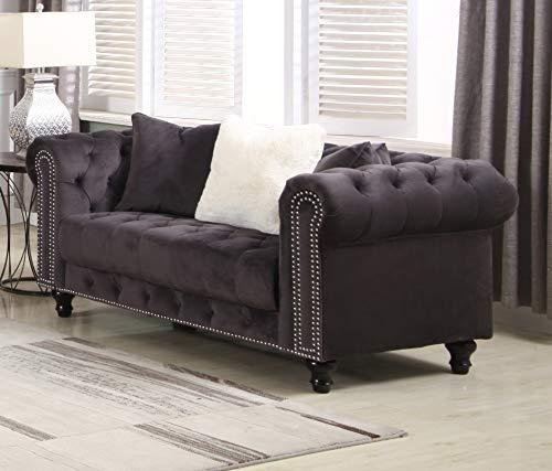 Best Master Furniture Cassandra Tufted Upholstered Velvet Loveseat, Grey
