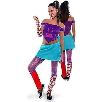 Yuppiyei Disfraz de Aerobic ochentero Lila para Mujer: Amazon.es ...