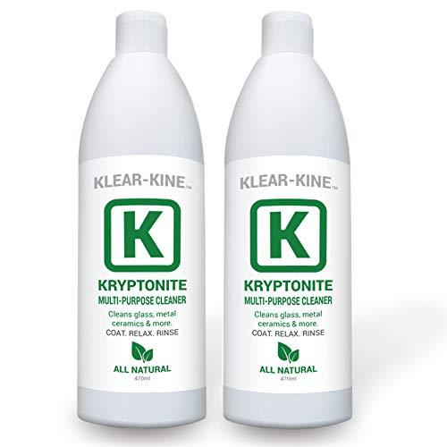 KLEAR Kryptonite Glass Cleaner | Clay Based Formula | 470ml Bottles | Pipe Cleaner | 2 Pack (32 oz)