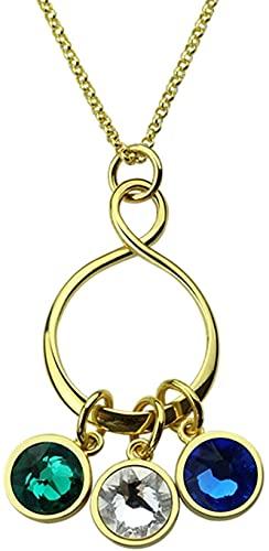 Collar upwmm de plata esterlina 925 Collar familiar personalizado Personalización 1 a 6 Encanto de piedra natal Adecuado para madre de amantes Oro 16.0