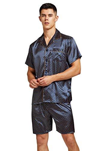 Pijama de Manga Corta para Hombre de satén con Pantalones Cortos Azul Dorado XXL