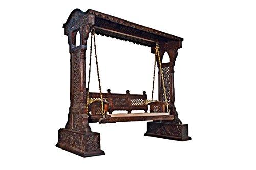 Jaisalmer Jharokha Design Wooden Carved Royal Swing Set / Indoor Jhula