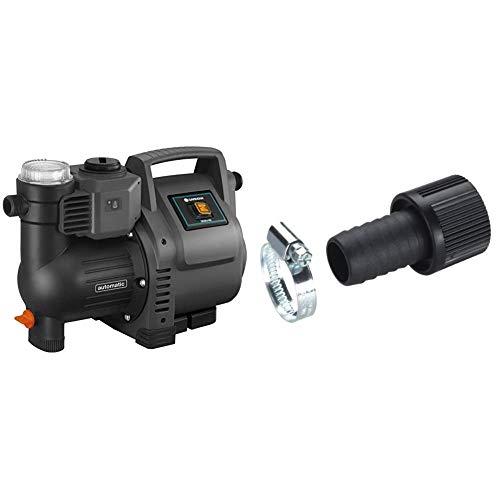 Gardena Hauswasserautomat 3500/4E: Robuste Hauswasserpumpe & Saugschlauch-Anschlussstück 25 mm (1 Zoll): Pumpen-Anschlussstück mit Schlauchklemme zum vakuumfesten Anschluss an den Saugschlauch