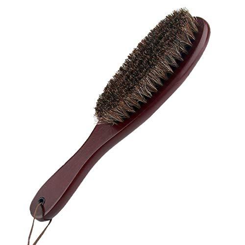 Cepillo para ropa, remover pelusa, cerdas de crin de caballo genuinas, suaves, auténticas, con mango de madera de Cokaka., 1-Pack (walnut wood)