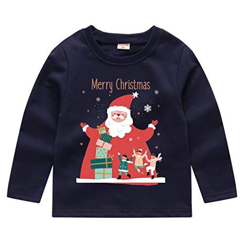 Bébé Sweat-Shirt Noël de Wapiti Impression Pull-Over pour Enfant Automne Hiver Épais Sweatshirt Tops Sweater Manche Longue pour Fille et garçon Binggong 2-11Ans