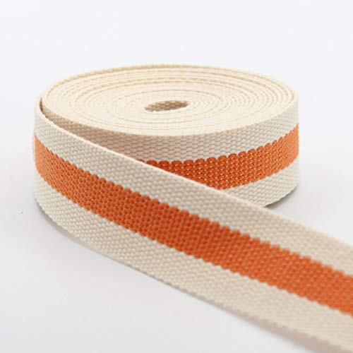 Leduc - Correa de 5 metros de color crudo con cinta central de color, bolso bandolera, arnés de mochila de alta calidad, 30 mm, algodón y fibra mixta 119