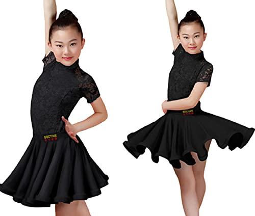 ZYLL Vestido de Baile Latino para nia, Traje de Baile de Encaje de saln, Vestidos de Salsa, Tango, Ropa para actuacin en el Escenario,Negro,L