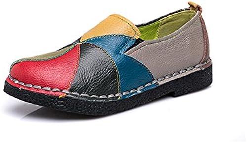 Slip On Wohnung Loafer Casual Leder Damen Flach, Loafer