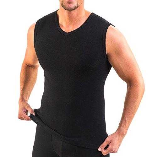 HERMKO 3050 3er Pack Herren Muskelshirt V-Ausschnitt (Weitere Farben), Farbe:schwarz, Größe:D 6 = EU L