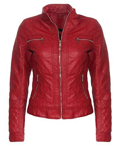 Malito Damen Jacke | Kunstleder Jacke | lässige Biker Jacke | Jacke mit Stehkragen | Faux Leather 5193 (L, Bordeaux)