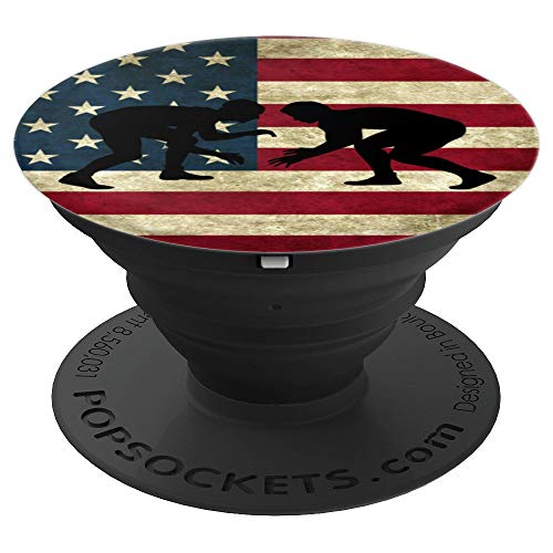 Wrestler Accessories USA American Flag Wrestling Coach Gift PopSockets Grip and Stand for Phones and Tablets