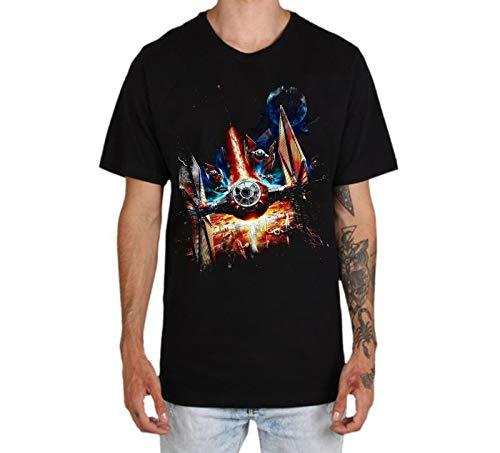 Camisetas Hombre Camisas de Manga Corta con Cuello Redondo y Estampado Star Wars Tops de Verano Elegante Polos de BáSica Camiseta para Hombres Diario Guerra de Las Galaxias Robot Naves 2 (XXXL)