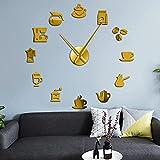 DIY Reloj De Pared - Taza De Café 3D Wall Clock Wall Wall Coffee Shop DIY Giant Wall Decal Cafe House DIY Pegatinas Decorativas Manos Grandes Sin Marco Reloj Grande, Oro, 47 Pulgadas