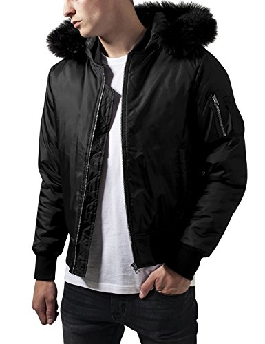 Urban Classics Hooded Basic Bomber Jacket Chaqueta, Negro (Black 7), X-Large para Hombre
