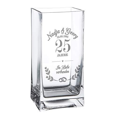 Casa Vivente Blumenvase mit Gravur zur Silberhochzeit, Vase mit Ring-Motiv, Personalisiert mit Namen und Datum, Geschenk zum 25. Hochzeitstag