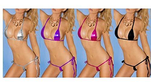 Lencería para Mujer Sexy,Mujer Tanga Bañador Trajes de Baña Brasileña Una Pieza One Size Bikini Charol Lustroso