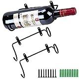 ALUYF 2 Piezas Portabotellas de Hierro Montado en la Pared Soporte para Botella de Vino para Botellas de Vino para Expositor de Botellas de Licores Organizador Colgante Boca de Botella a la Izquierda
