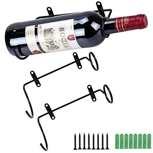 2 Stück Weinflaschenhalter Weinständer Eisen Wand Weinflasche Rack Halter Plus Wand Weinregal zur Wandmontage Eisen für Rotwein Likörflaschen Metallhalterung zum Hängen Sie den Flaschenhals rechts auf