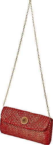 Home Collection Tasche Handtasche Clutch rot in Strickoptik mit Goldschimmer 25x15cm