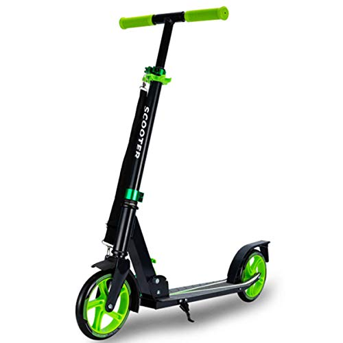 Muzyo Kids' Scooters 2-Wheels Foldable Frame Lightweight Push Scooter City Commuter with Adjustable Handlebar Rear Brake for Adults Teens Ages 6+, Support 220Lbs.