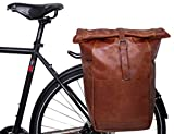 Gusti Miquel I - Bolsa portaequipajes de piel para bicicleta, color marrón brillante