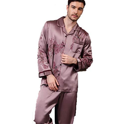 Men's/Women 100% Pure Silk Pyjamas, Couple Outfit Button-Down Long Pants Pajamas Set, Loungewear Long Sleeve Pjs Set Nightwear Sleepwear,002,M