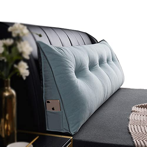 ZWDM Reading Pillows Cotton Bolster Lumbar Support Back Cushion, Solid Color Wedge Headboard Triangular Backrest, Removable Washable (Color : Light Blue, Size : 80x20x50cm)