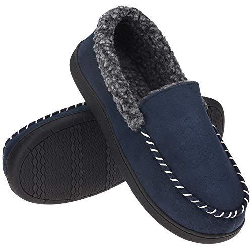 Men's Moccasin Slippers Fuzzy House Shoes Berber Fleece Memory Foam Home Indoor Outdoor, Navy Blue, Size 10