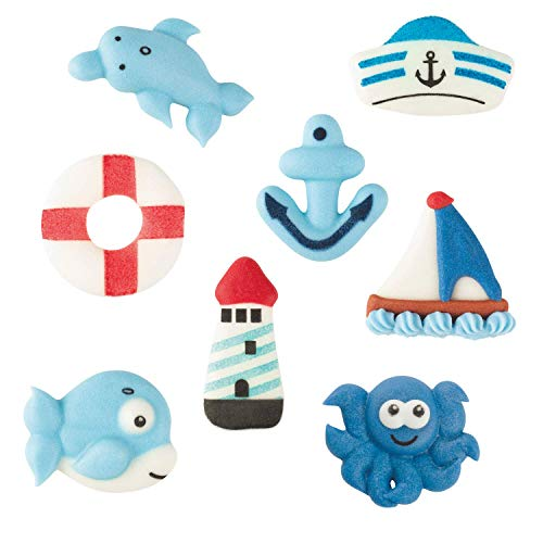 Günthart 72 Zuckerfiguren Meer, sortiert | Rettungsring | Anker | Segelboot | Leuchtturm | Wal | Krake | Maritim | Ahoi