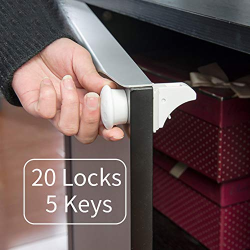 Lovyno Child Safety 20 Magnet Locks and 5 key Best Baby Proofing Lock for Kitchen Cabinet, Drawer, Cupboard