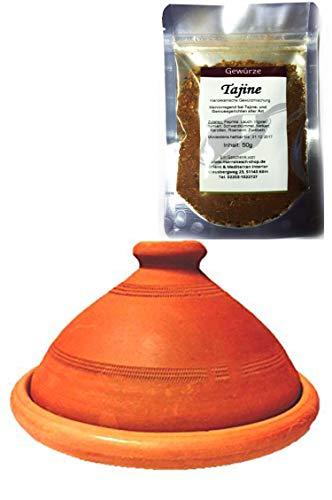 Marokkanische Tajine, Inklusive Tajine Gewürzmischung | Tagine, unglasiert frei von Schadstoffe, original aus Marokko | Tontopf zum Kochen, Tuareg Ø 30cm, für 4-5 Personen | Handarbeit aus Marrakesch | in verschiedene Größen
