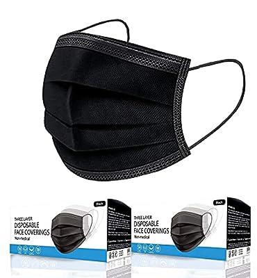 Merrimen 100pk 3 PLY Face Masks Disposable for Adults, Disposable Breathable Face Coverings, Face Masks Breathable, Motorbike, Anti Haze Face Cover, Balaclavas Bandanas - BLACK, 403899