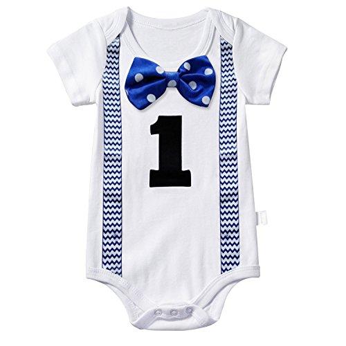 TTYAOVO Baby Jungen Mein Erster Geburtstag Fliege Bodysuit Romper Kleidung Outfits 1 Jahre Punkt Blau
