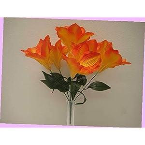 Artificial 2 Bushes Orange Amaryllis Artificial Silk Flowers 16″ Bouquet 6-647or Bouquet Realistic Flower Arrangements Craft Art Decor Plant for Party Home Wedding Decoration