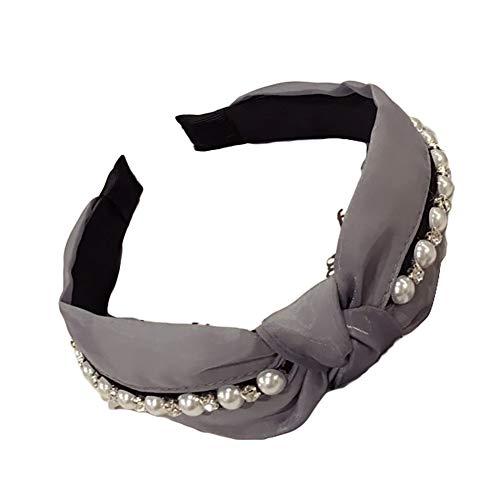 Momangel Serre-tête large en tissu avec perles synthétiques pour femme Gris 15 cm x 5 cm
