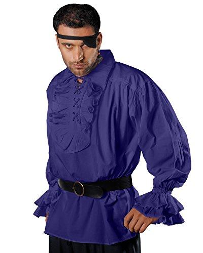 Medieval Poet Pirate Renaissance Costume 100% Cotton Shirt C1011 (Blue) (Large)