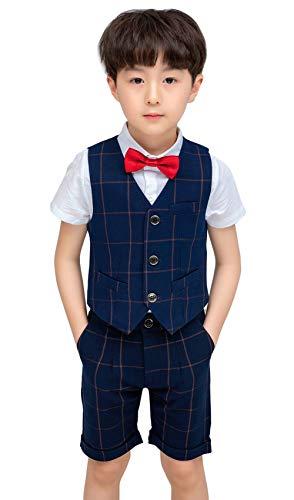 Happy Cherry - Traje de Fiesta de 4 Piezas para Niños Ropa Bebés Bautismo Camisa con Corbata para Boda Ceremonia Chaleco Pantalones Elegantes para Niño - 8-9 Años - Azul