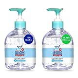 Njoyt Hand Sanitizer Gel - Hand Sanitizer With Alcohol, Gel Hand Sanitizer, Large Hand Sanitizer With Pump, Hand Sanitizer, Antibacterial Hand Sanitizer - 2 Pack, 500ml, 17.6fl oz