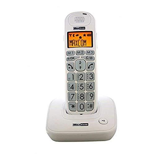Oferta de Teléfono Fijo Maxcom MC6800W, Manos Libres. LCD retroiluminado, Color Blanco