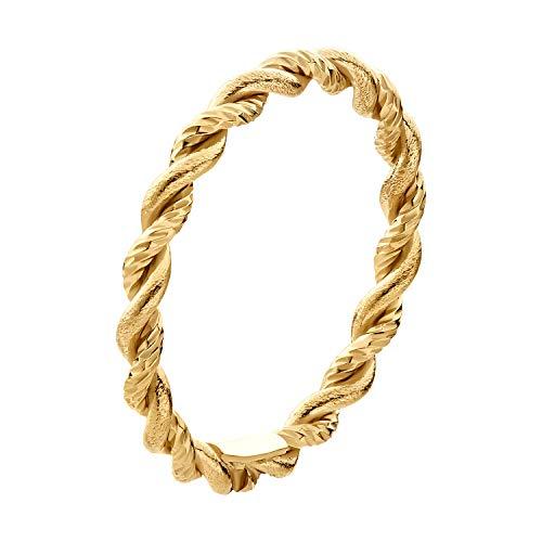 IDENTIM Kordelring Diamantiert 925 Silber Gold Vergoldet Goldring Feiner Dünner Damenring Wickelring Kordel 311756 (Silber Vergoldet, 56 (17.8))