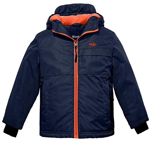 Wantdo Boy's Hooded Rain Jacket Fleece Lined Windcheater Outdoors Rainwear(Dark Blue, 10/12)