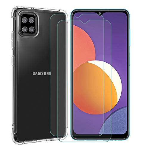 ELANG Shockproof Crystal Slim Protective Phone Cover Cases for Samsung Galaxy M12 (6.5 inches),Waterproof Case with 2 Tempered Glass Screen Protector