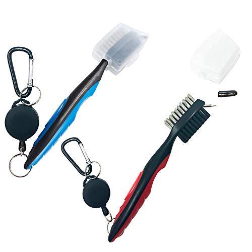 2 cepillos para palos de golf con funda protectora, limpiador de ranuras retráctil con cabezal de cepillo de gran tamaño y cómodo agarre de mano, accesorios para herramientas de limpieza fáciles