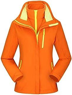 BEESCLOVER Brand New Outdoor Warm Winter Jacket Waterproof Breathable Hiking Windbreaker Skiing Fishing Men Jacket 3 in 1 Fleece Coat Orange S