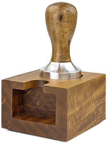 Lambda Coffee® Espresso Tamper 51mm & Tamperstation für Barista Set aus Akazienholz, Espresso Stempel aus Edelstahl und Holz mit Tamper Station für Siebträger Zubehör 51 mm