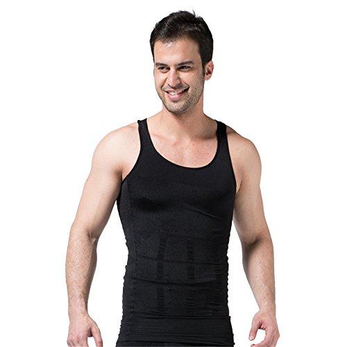 BaronHong Gynecomastia compresión Camisa para Ocultar Hombre Boobs Moobs Adelgazamiento Mens Shapewear (Negro, L)