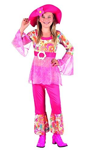 Boland 82149 - Hippie Figlia dei Fiori Happy Diva Costume Bambina, Rosa, 7-9 anni
